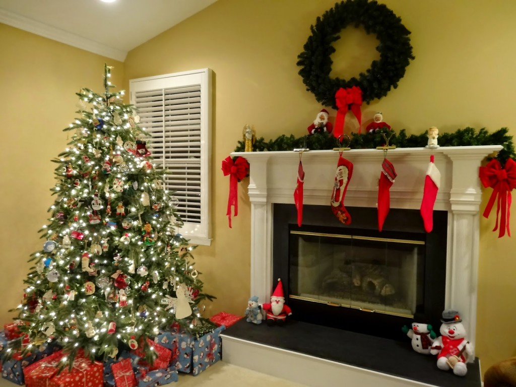 christmas tree and fireplace mantle