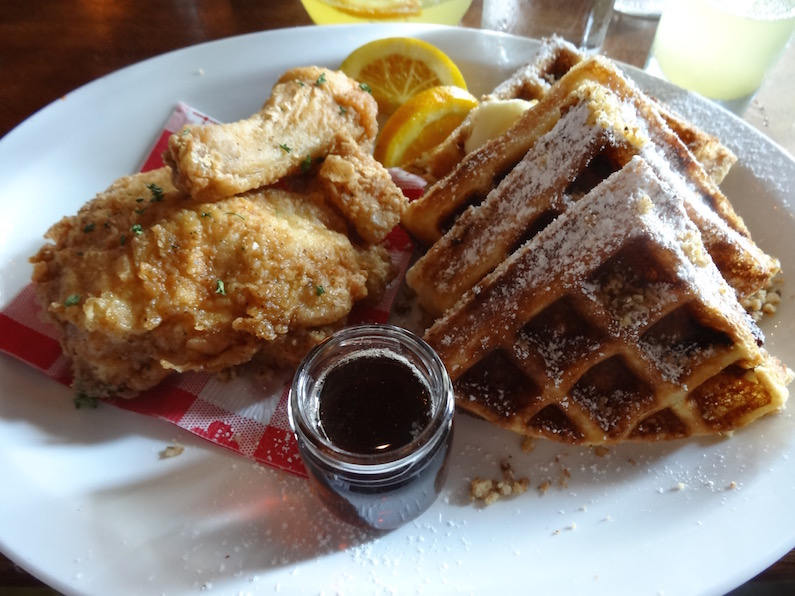 five chicken and waffles