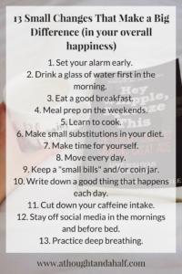 13 small changes make a big difference list