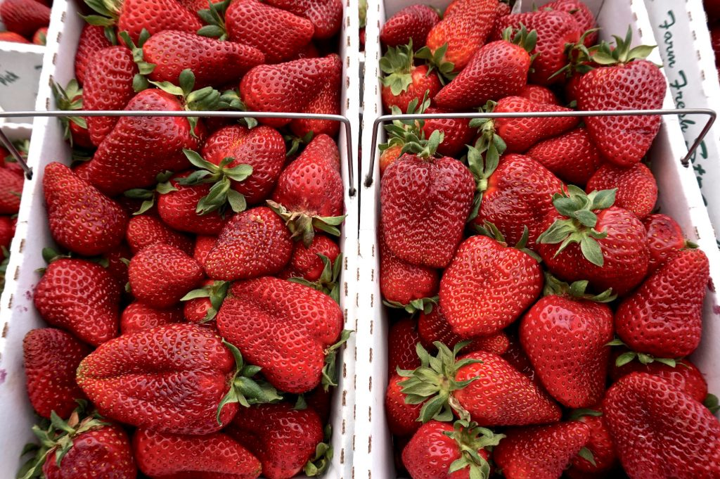 fresh strawberries from market