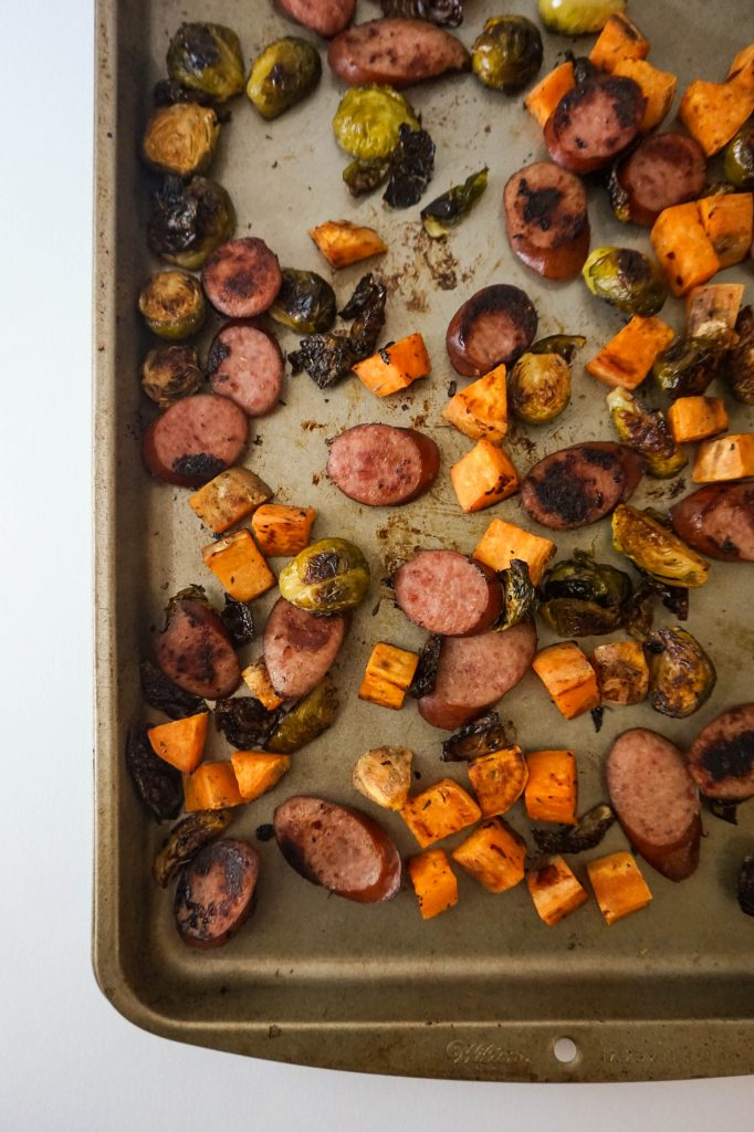 sheet pan dinner turkey sausage veggies