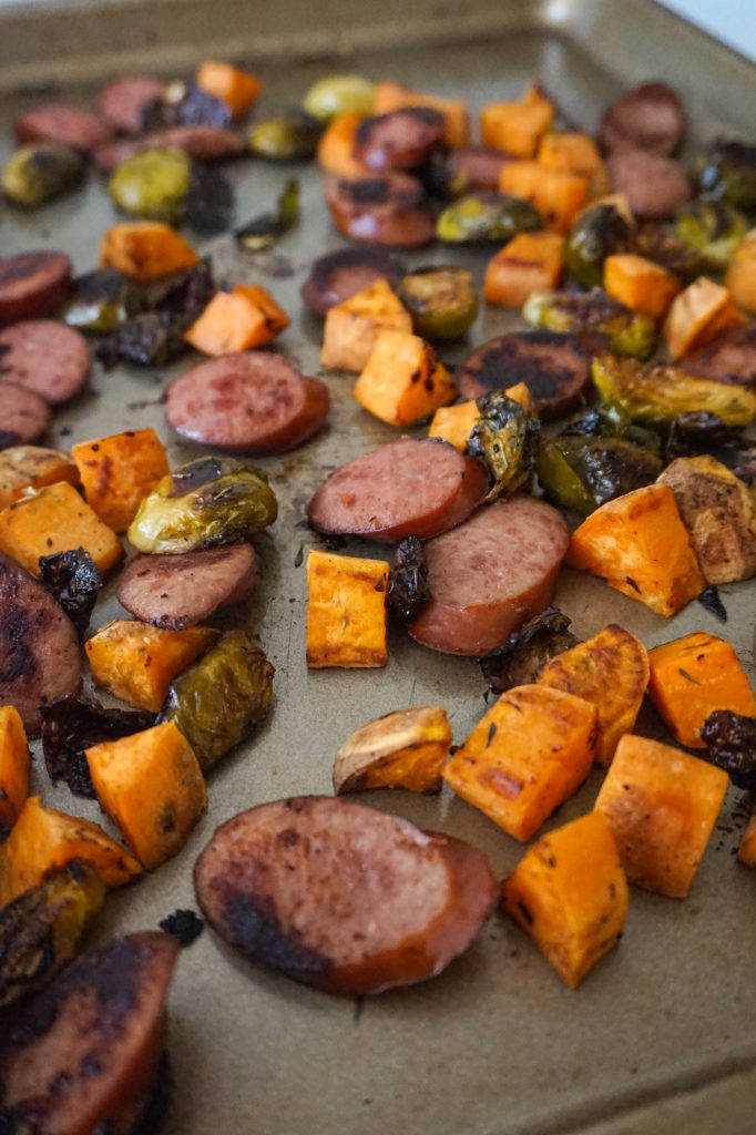 roasted veggies and sausage