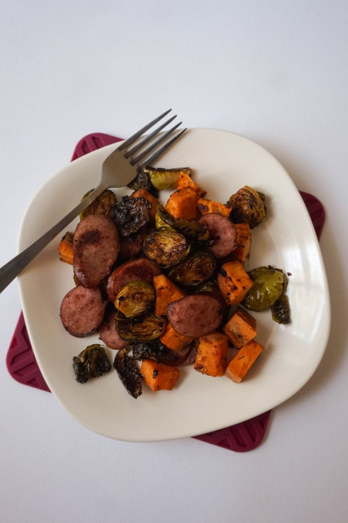 turkey sausage veggies sheet pan dinner